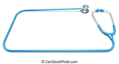 Blue stethoscope as frame, with space for text. Front view