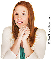 Happy Woman in Suspense - Beautiful young woman with folded...