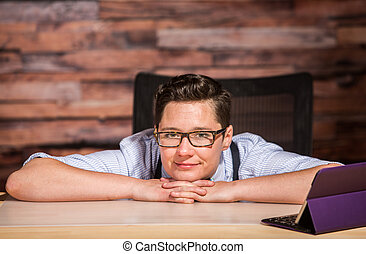 Dapper Woman in Bowtie with Tablet - Dapper woman in glasses...