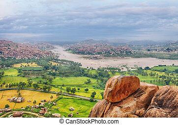 View over Hampi ancient hindu city - Hampi ancient indian...