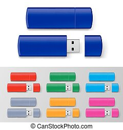 Usb flash set - Set of USB flash drive isolated on white