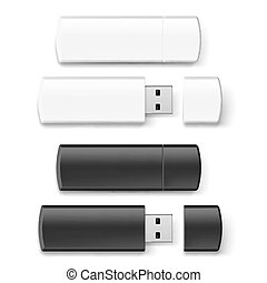 Usb flash set - Set of black and white USB flash drive...