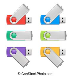 Usb flash set - Set of color USB flash drive isolated on...