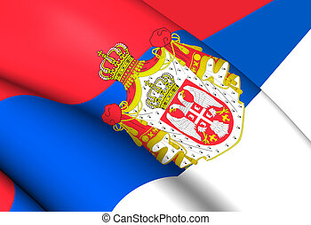 Kingdom of Serbia Flag 1882-1918 Close Up