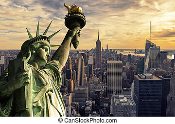 Sunset on Manhattan - The Statue of Liberty and New York...