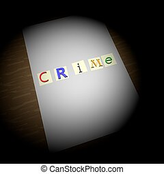 Crime writing over blank paper, kidnapping letters, round...