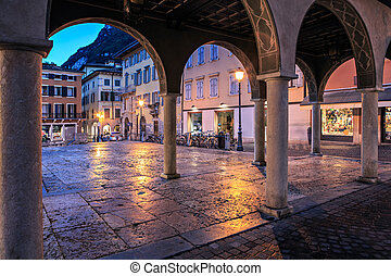 Riva del Garda town by night, Italy
