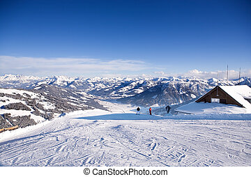 Skiing - Ski area Wilder Kaiser in Alps near Kufstein in...