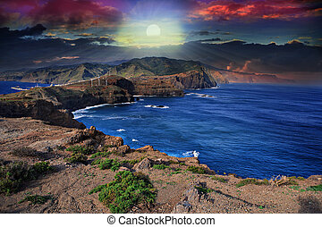 The east coast of Madeira Island near Canical, Portugal
