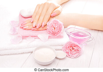 french manicure with essential oils, rose flowers spa -...
