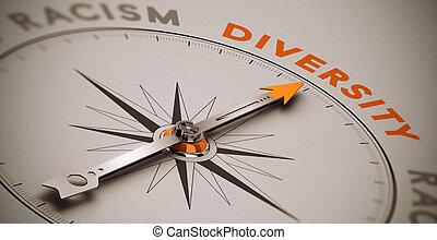 Racism vs Diversity - Social background concept. Compass...