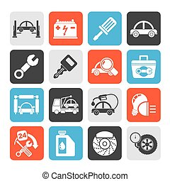 Car service maintenance icons - Silhouette Car service...
