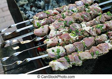 skewers - Prepared for roasting meat on skewers