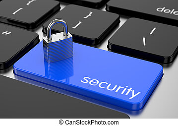 Chrome padlock on the computer keyboard. Security concept -...