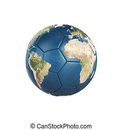 Globe Earth texture on soccer ball isolated on white...