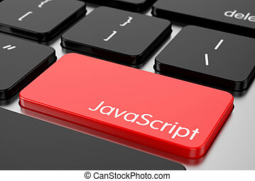 Red Enter button with machine code language Javascript - 3d...