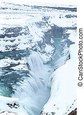 Gulfoss Waterfall Iceland Winter - Gulfoss Golden Falls...