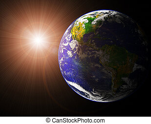 earth and sun - view of earth and sun from space orbit image...