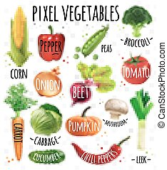 Pixel vegetables corn, pepper, peas, broccoli, onion, beet,...