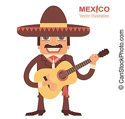 Mexican man with guitar - Mexican man playing guitar and...