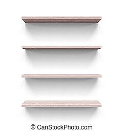 Shelves - Four horizontal wooden shelves. Illustration on...