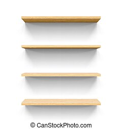 Shelves - Four horizontal wooden shelves Realistic...