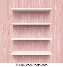 Shelves - Four horizontal wooden shelves. Illustration for...