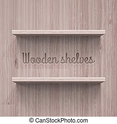 Shelves - Two horizontal wooden shelves Illustration for...
