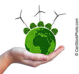 Green planet with trees and wind turbines in hand isolated