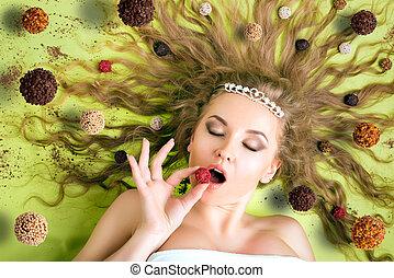 mulher, comer, bala doce,