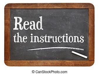leggere, consiglio, istruzioni