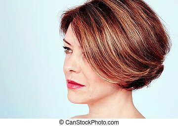 Woman with stylish haircut - Close up portrait of sensual...