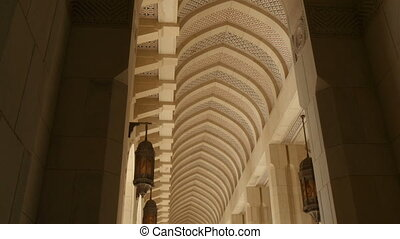 long high colonnade with pointed ar - high colonnade with...