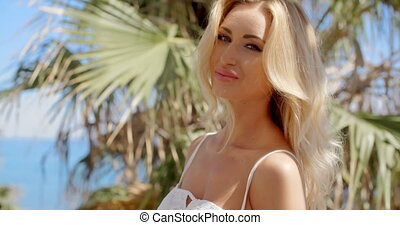 Close Up of Blond Woman in Tropical Location - Close Up...
