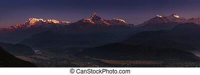 Himalayan panorama at sunrise - Himalayan panorama,...