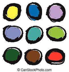color palette button icons, vector