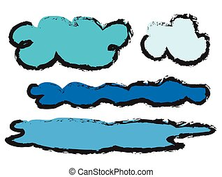 set doodle clouds icons, vector