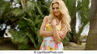 Portrait of Blond Woman in Tropical Location - Portrait of...