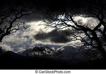 Storm clouds - Scenic view of storm clouds with silhouetted...