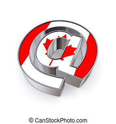 AT National - Canada - silver shiny chrome @-symbol on white...
