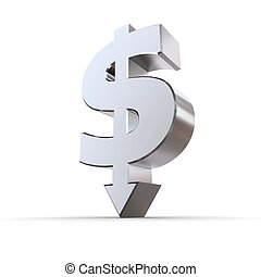 Dollar Symbol Arrow Down - dollar sign made of solid metal...