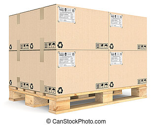 Eur Pallet - Eur Pallet with pile of brown cardboard boxes...