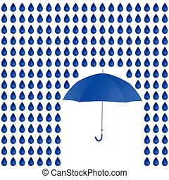 rain and umbrella vector - rain and umbrella blue vector