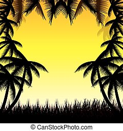 Summer background whit palm trees.vector