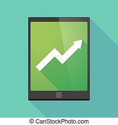 Tablet pc icon with a graph