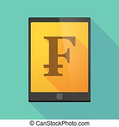 Tablet pc icon with a swiss franc sign - Illustration of a...