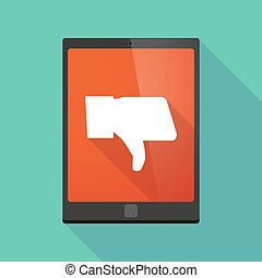 Tablet pc icon with a thumb hand