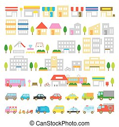 Town icon stores houses vehicles - Town icon, stores and...