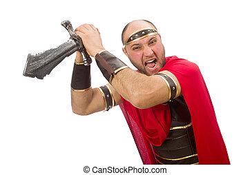 gladiador, com, espada, isolado, ligado, branca,