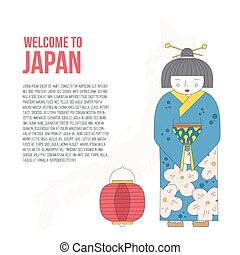 Travel to Japan - Traditional japanese symbols. Asian vector...
